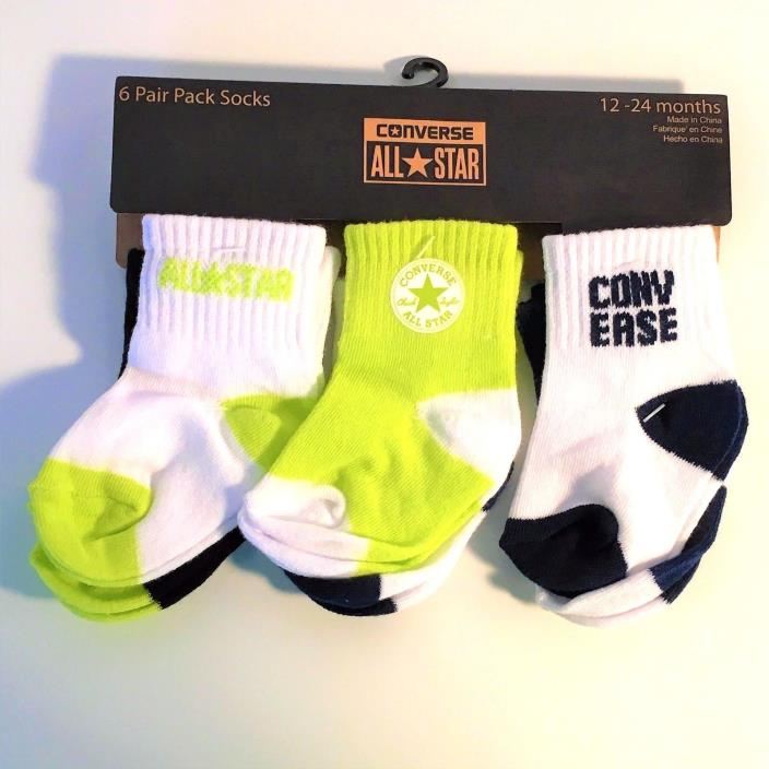 NEW Converse All Star 6-Pair Infant Toddler Socks Yellow-Black-Navy (12-24mo)