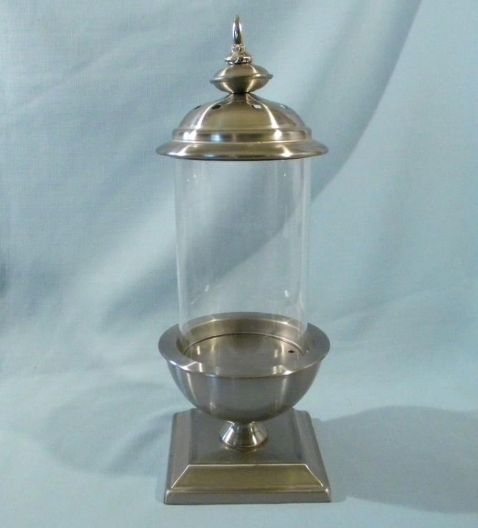 Lamp Candle Holder Centerpiece Lantern Metal & Glass Hurricane Shade Pillar