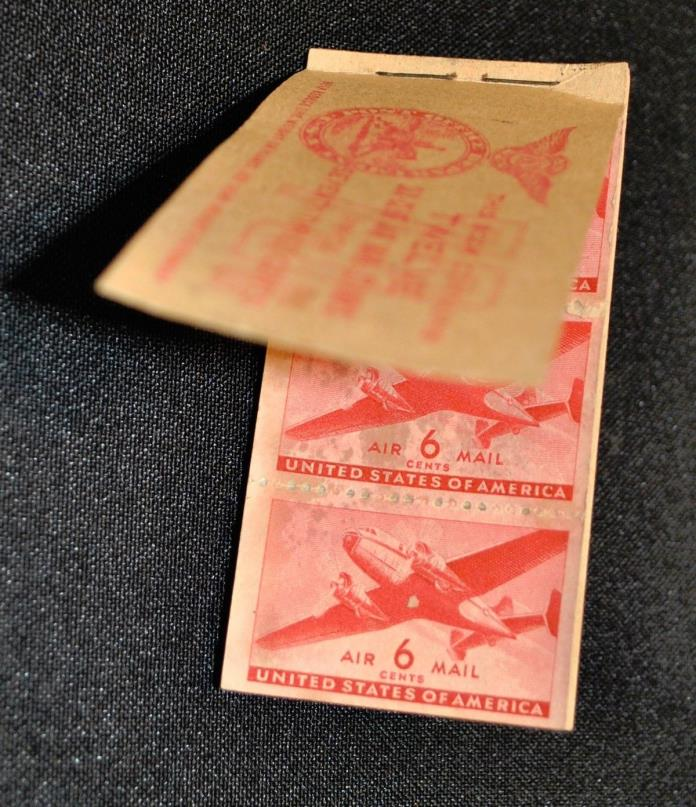 1941 SCOTT C25A AIRPLANE US 6 cents AIR MAIL STAMP BOOK w 5 STAMPS