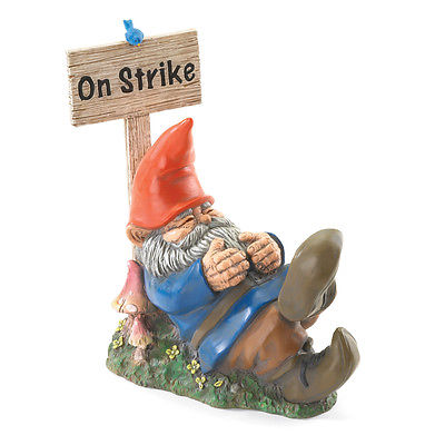 On Strike Sleeping Gnome Garden Yard Lawn Home Statue Ornament Decoration Decor
