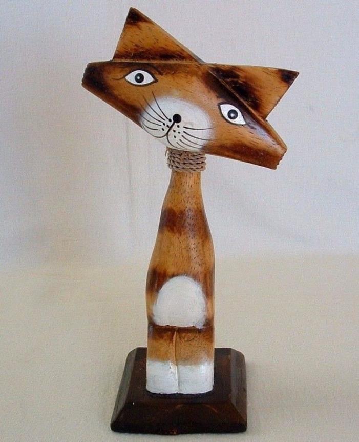 TABBY CAT Wide Face INDONESIA Kitty Feline Rope Collar WOOD FIGURINE & BASE