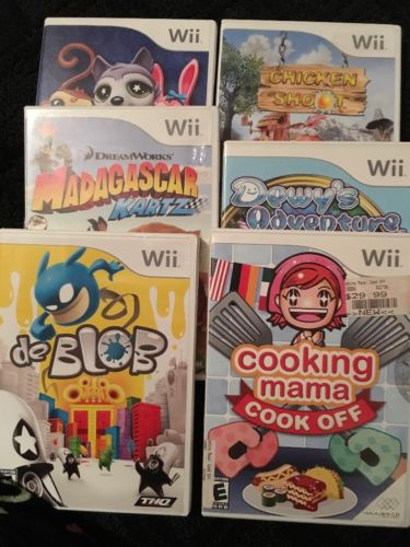 Lot Of Wii Video Games Littlest Pet Shop Cooking Mama Deblob Chicken Shoot Dewys
