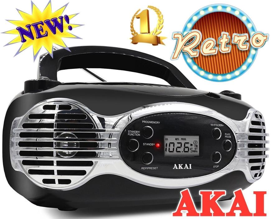 Akai CD/FM Portable Boombox CE2200B Retro Style Limited Edition FM PLL Radio