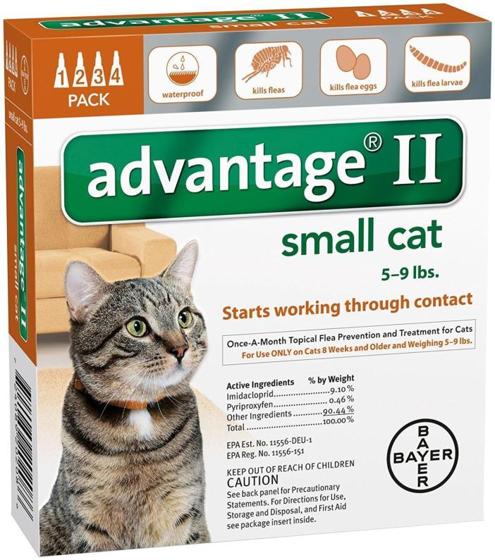 Bayer Advantage II 2 Small Cat 5-9 pounds Flea Tick 4 Pack