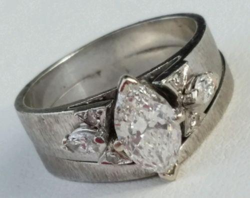 1.20 Ct Marquise Diamond $6450 Engagement Ring Wedding Band 14k White Bridal Set