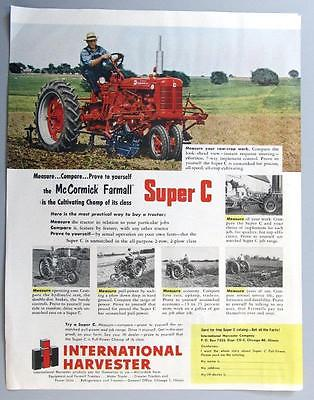 Original 1953 Farmall Super C Tractor Ad MEASURE..COMPARE...PROVE IT TO YOURSELF
