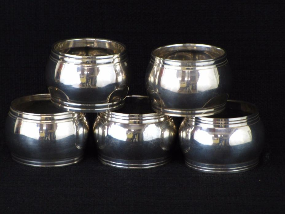 Vintage Silver Plated Napkin Rings Five (5) Cigar Band Style