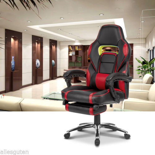 Red Leather High Back Office Chair Executive Task Ergonomic Computer Gaming Desk