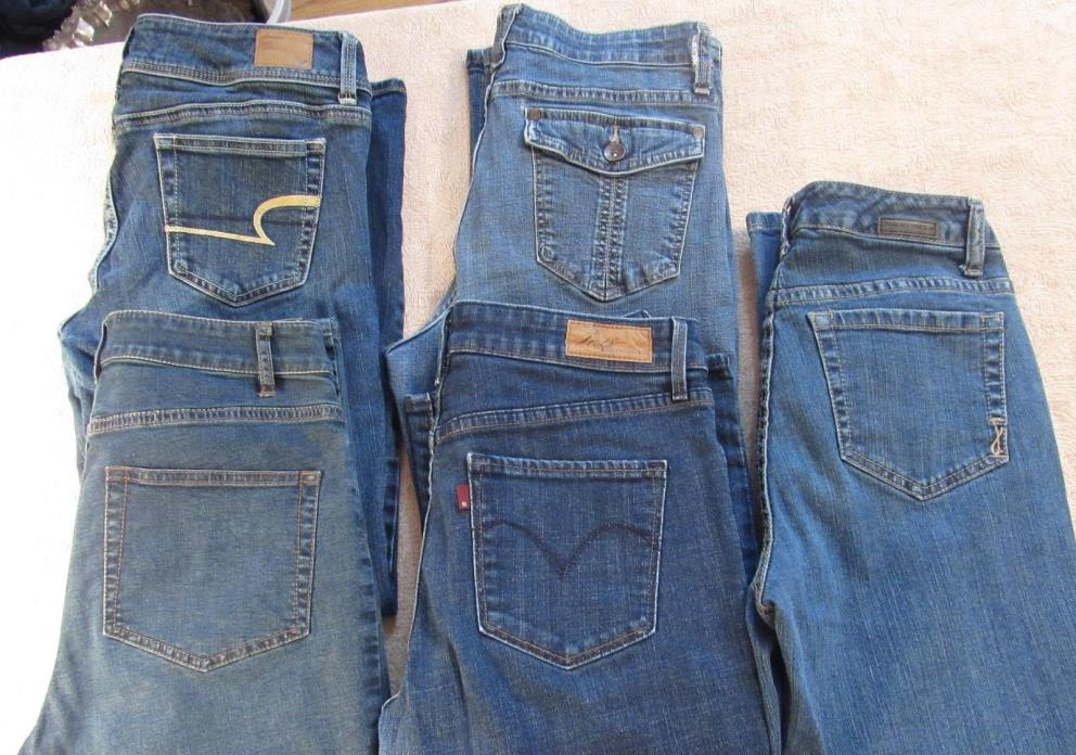 5 Pairs sz 6 Petites Pants Jeans J.Jill American Eagle Jones New York Levis Lee