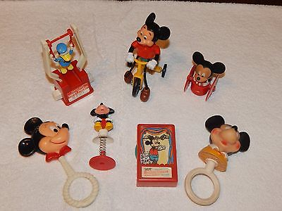 VINTAGE 1970s and 1980s Six (6) MICKEY MOUSE Toys & Rattles FREE Shipping