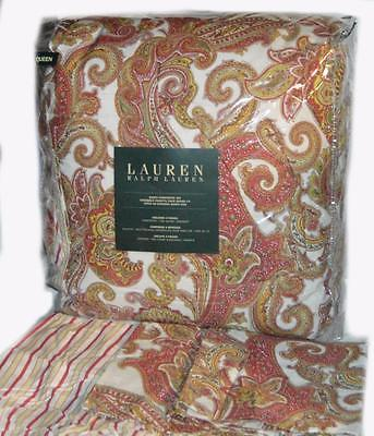 RALPH LAUREN QUEEN COMFORTER SET Harbor Island Rose Paisley 4PC Rose Green Gold