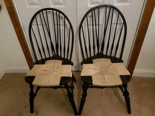 Antique Nichols and Stone Unique Pair of Windor Chairs
