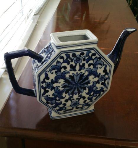 Cobalt Blue and White Tea pot Decor