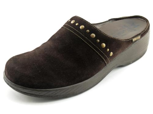 EXC Suede MEPHISTO AIR-RELAX Brown Shock Absorber Clogs Mules Shoes 9.5