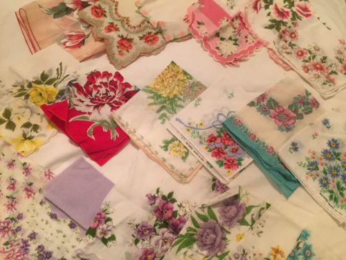 Lot Of 18 Vintage Hankies Hankys Floral Flowers