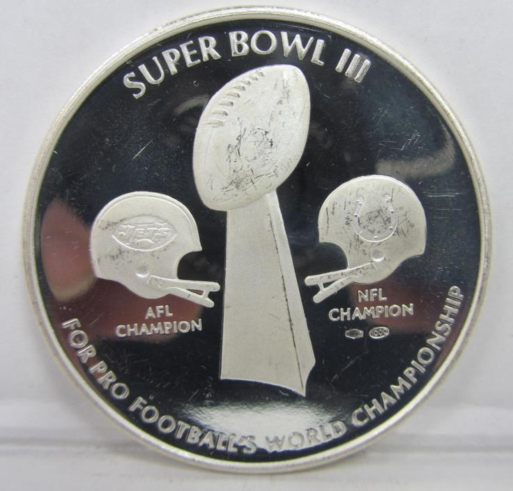 SUPER BOWL III SILVER COMMEMORATIVE PROOF COIN - ALMOST TWO OUNCES!