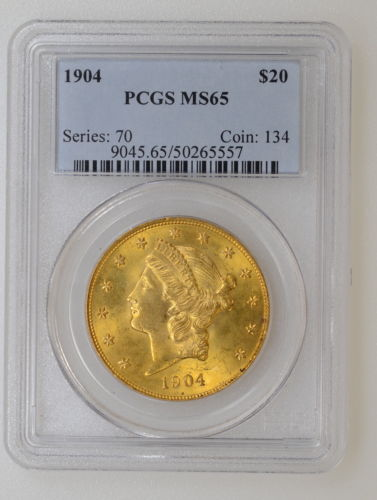 1904 P PCGS MS65 $20.00 GOLD LIBERTY. WONDERFUL COLOR & LUSTER - I-5749