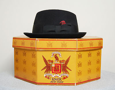 Vintage 1950s KNOX Black Felt FEDORA Hat ROCKABILLY HIPSTER HAT in Box Size 7