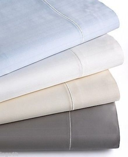 Hotel Collection 700TC  Microcotton Flat Sheet stripe - queen - white