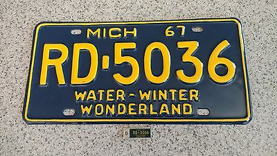 1967 michign license plate with matching DAV tab rare