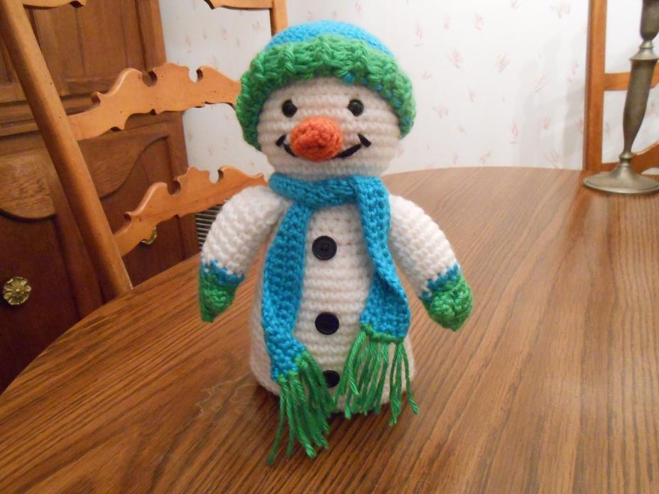 New HANDMADE Snowman with Hat and Scarf