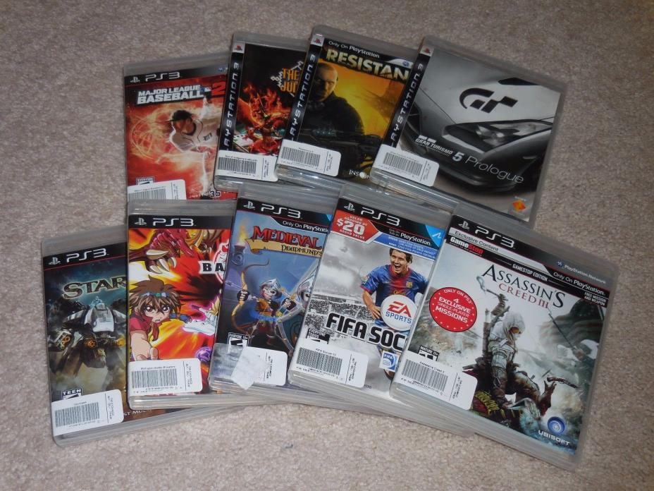 SONY PLAYSTATION 3 VIDEO GAME LOT ASSASSINS CREED FIFA MLB GT PS3 FREE S/H LOOK