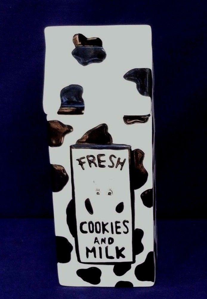 Cookies & Milk Cow Cookie Snack Jar Black & White Cow Pattern Design Milk Carton