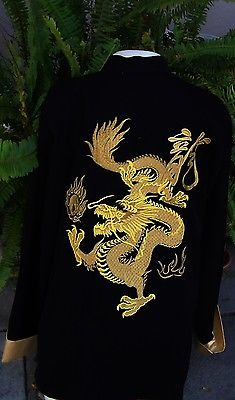 VINTAGE LADIES JACKET Chinese Style Jacket/Top Size XL Black Gold Dragon Design