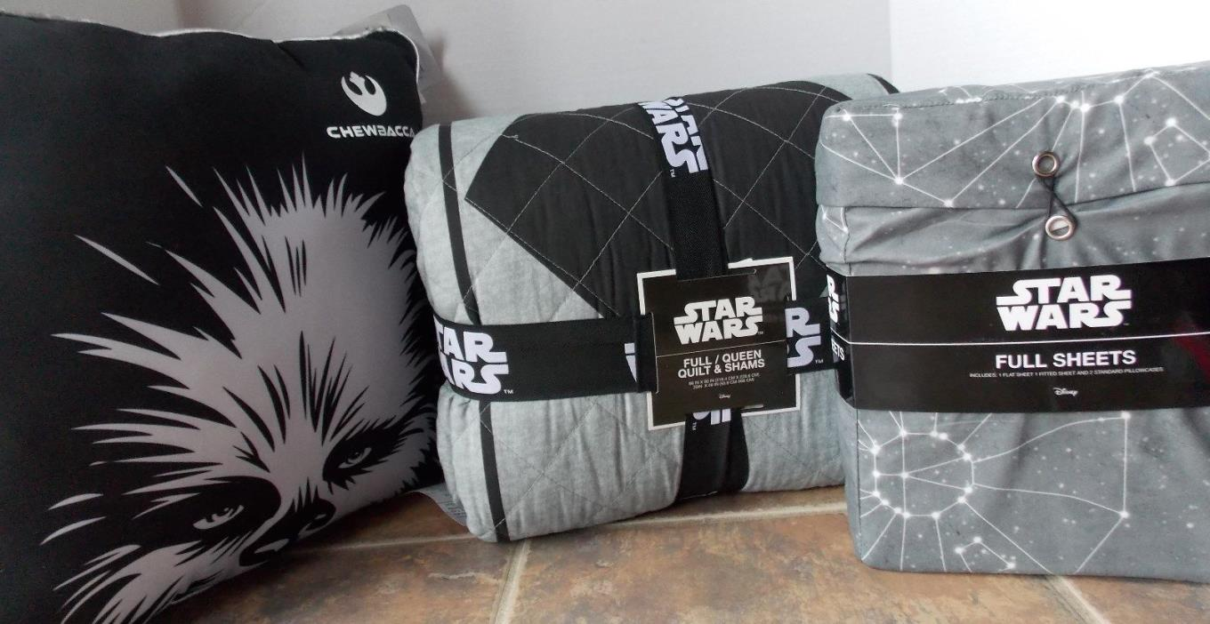Star Wars 8 pc Quilt Sham Sheet Set ~ NEW Black Grey Rebel FULL