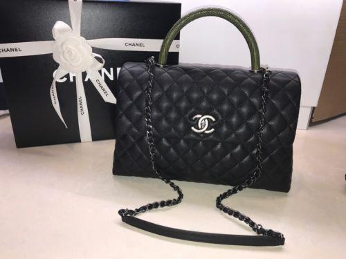 New Chanel 2017 Classic Coco Handel Lizard & Black Caviar Flap Bag Cross Body
