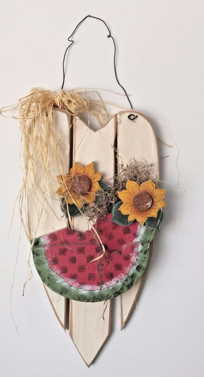 Country Wood Heart Picket Fence Sunflower Watermelon Wall Door Hanger LG