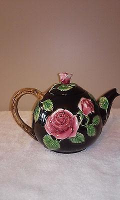 Fitz & Floyd Black Rose Teapot