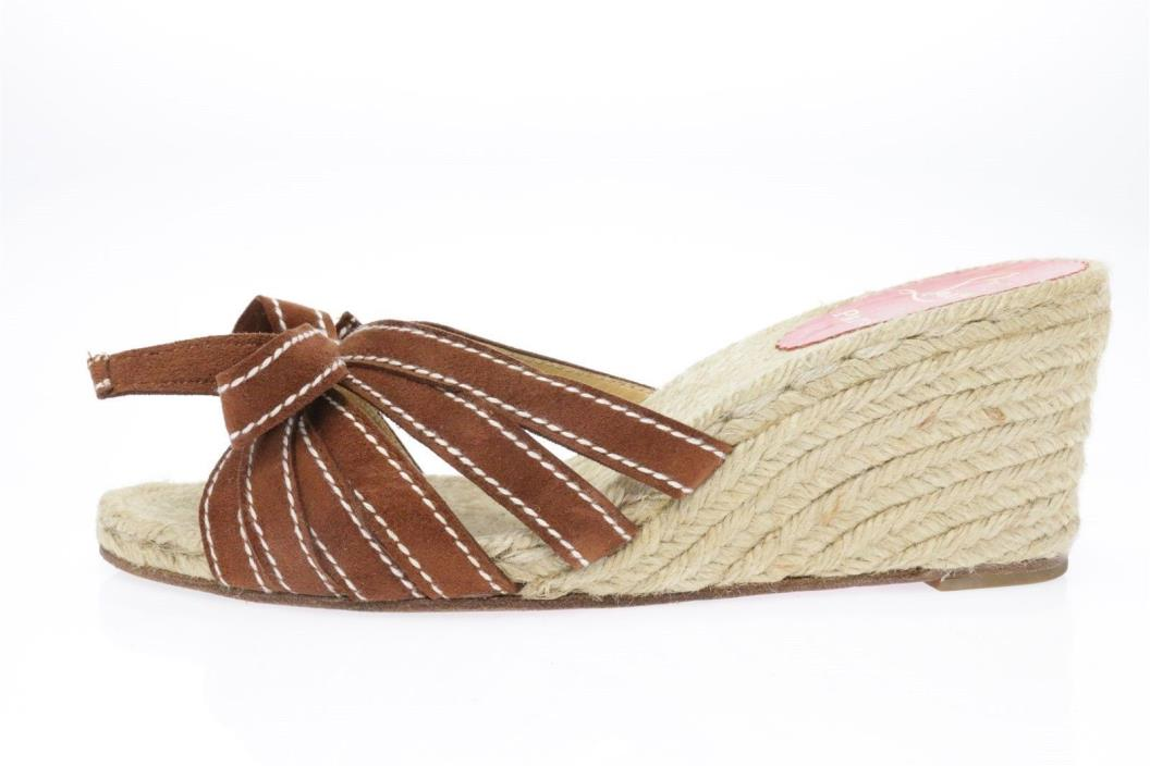 Womens CHRISTIAN LOUBOUTIN brown suede wedge slides sz. 39 GREAT!