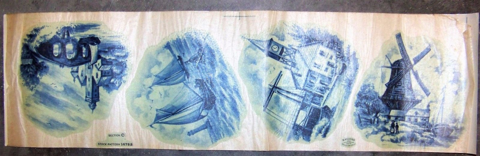Ceramic Waterslide Decal Blue and White Made in England Ratauds
