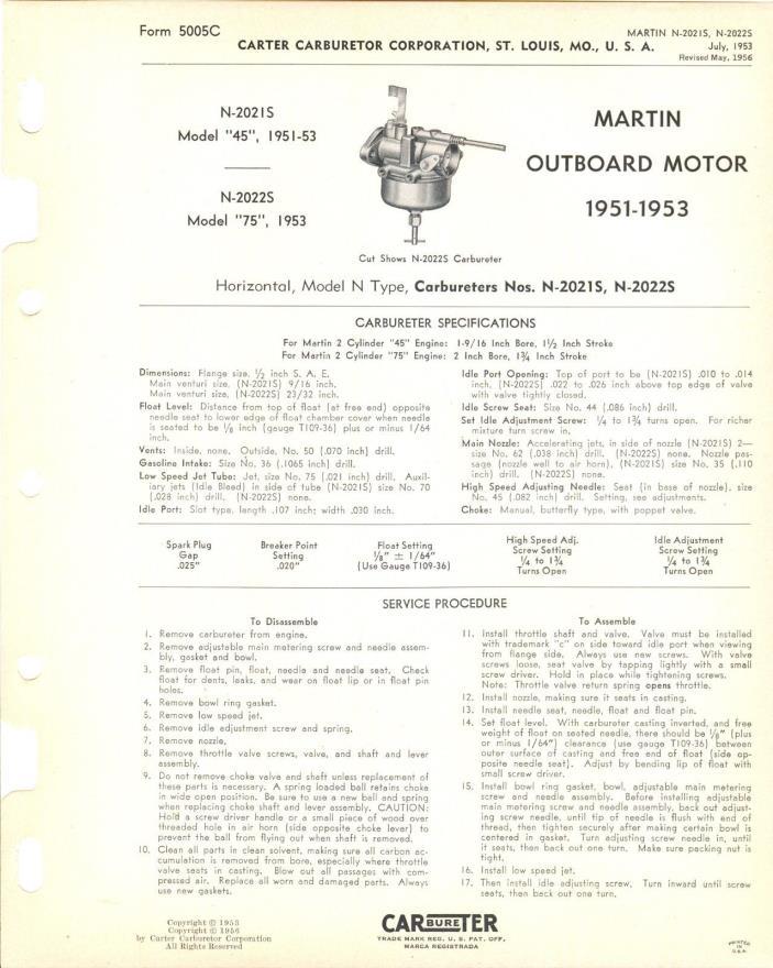 1956 Carburetor Specification Martin Outboard Motor 1951 - 1953
