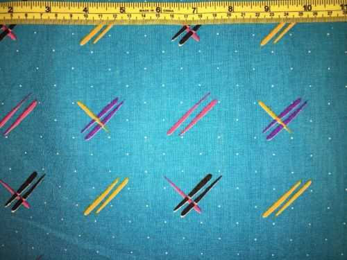Vintage 1 3/4 Yrds X 56 Fun Blue Geometric Med Wt Cotton Decorator Fabric