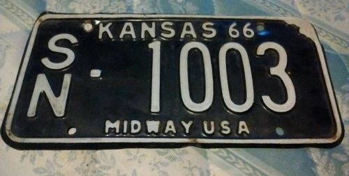 Kansas '66 license plate sn county