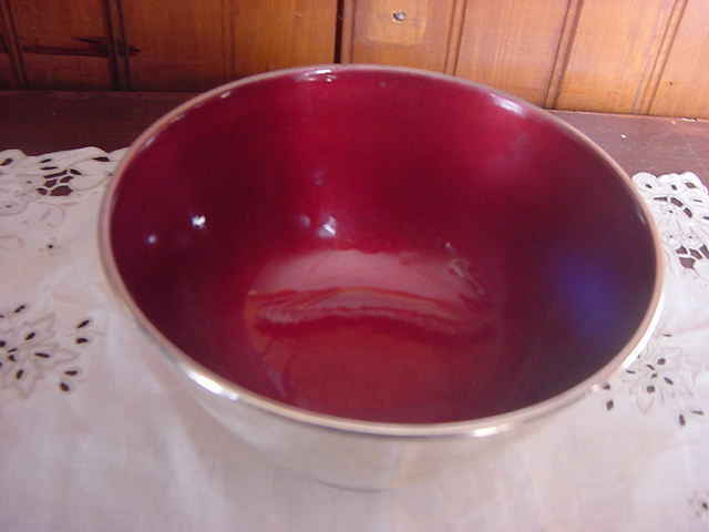 Towle red Enamel Siver Pated Bowl