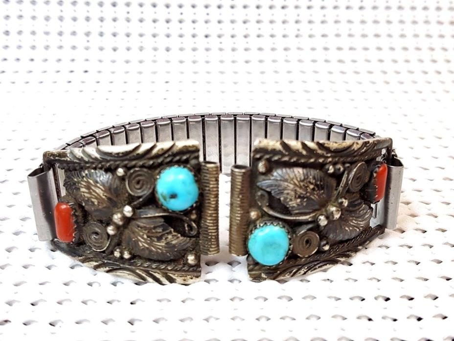 Men's Watch Band - Southwest Sterling Turquoise & Coral w/Metal Stretch Links