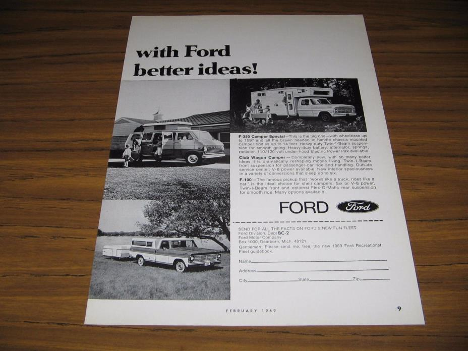 1969 Print Ad Ford Pickup Truck Campers,Club Wagon Camper,F-100