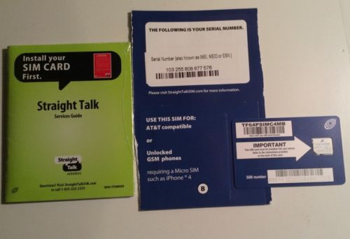 New Straight Talk Micro Sim Card AT&T Network iphone 4