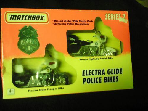 Matchbox Harley Davidson Electra Glide Police bikes Kansas, Florida series 2