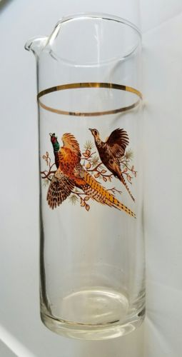 Vintage Martini Pitcher with Pheasants & Gold Trim