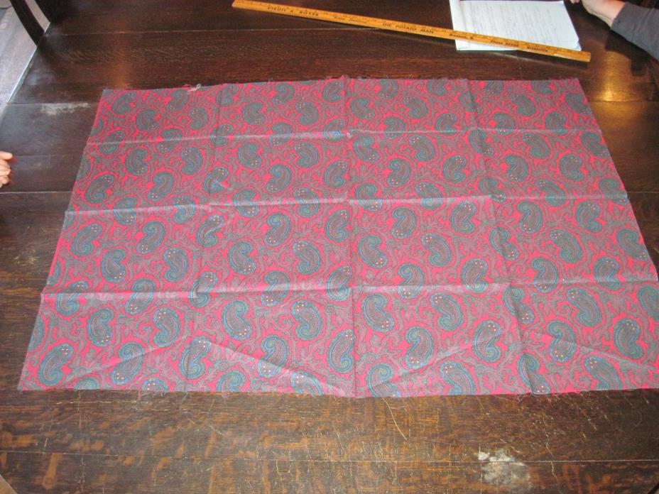 Vtg Fabric Peter Pan Fabric Paisley Reds & Blue Purple 43.5