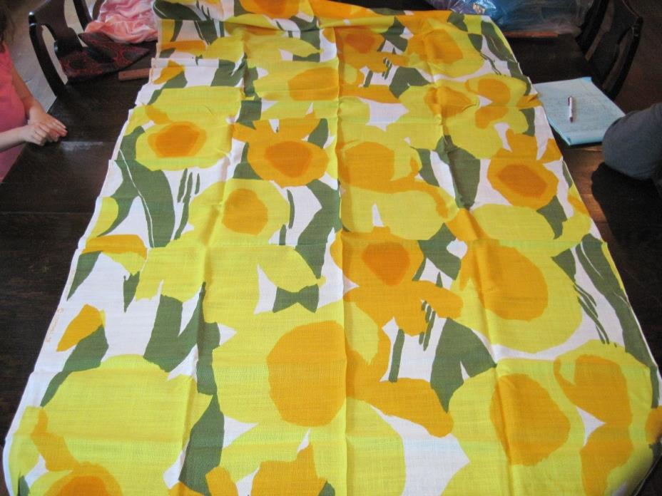 Vtg Gallery Loomskill Fabric Linen Weave Abstract Floral Big Bold  1960's - 70's