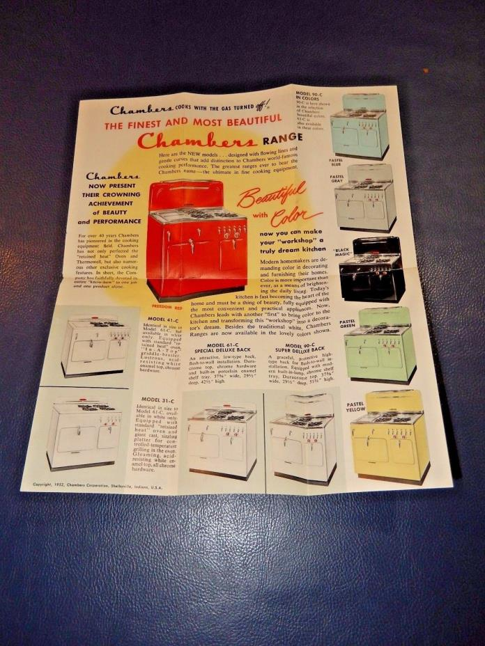 1952 CHAMBERS time for  GAS Ovens Cook Tops Modern Kitchen Range Vintage Catalog