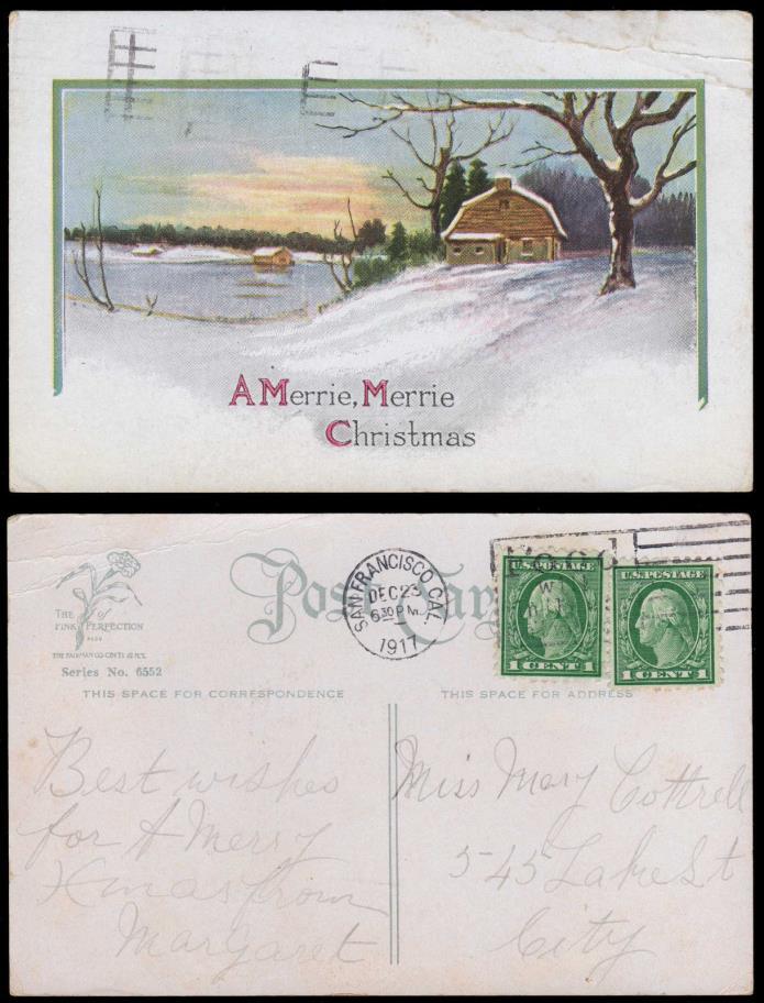 Christmas Greeting Card 1917 San Francisco Food will Win the War WWI Cancel #639