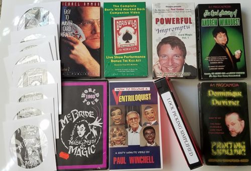 Magic Trick 8 VHS Lot with DVD backups Cards, Ventriloquist, Stage, Lock Picking