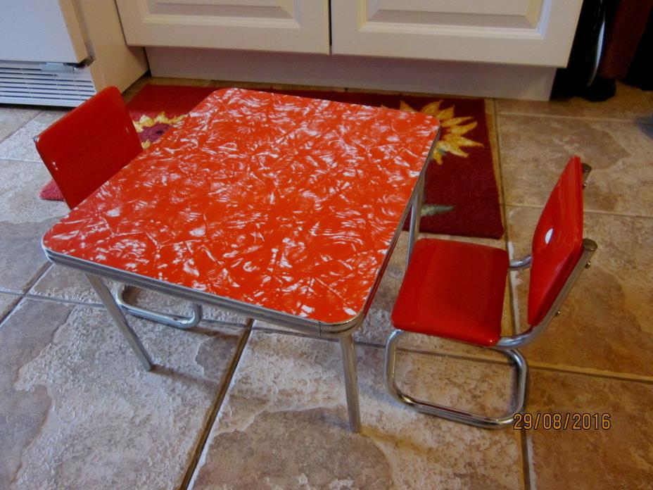 American Girl red vinyl & metal retro 1950's kitchen table & 2 chairs furniture