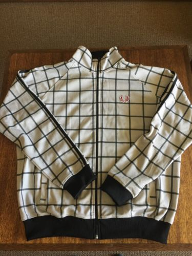 Very Cool Retro Fred Perry Track Jacket Zip Up White & Gray Plaid Size Large